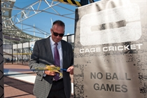 A-Sir Ian Botham cutting the ribbon on the Ageas Bowl Cage Cricket cage
