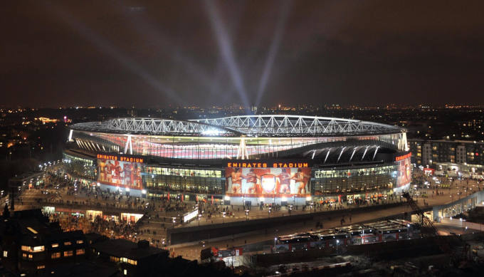 Emirates stadium at night