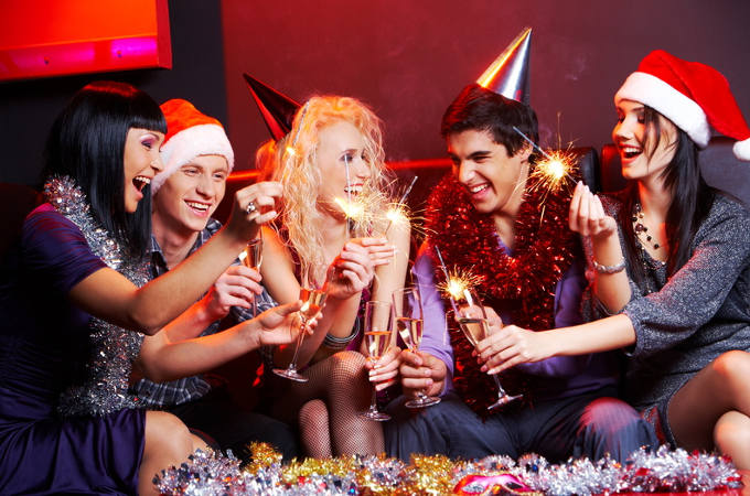 People enjoying Christmas party celebrations