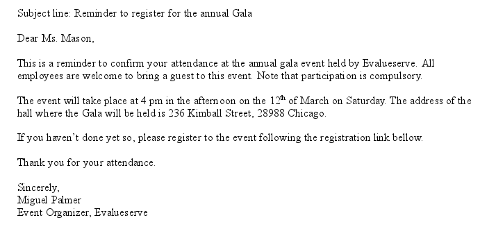 how to ask for rsvp by email