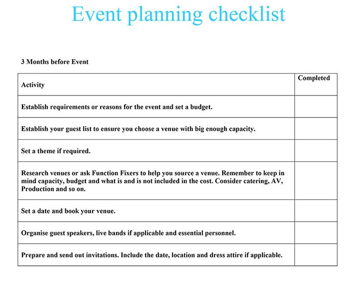 event planning checklist function fixers. Black Bedroom Furniture Sets. Home Design Ideas