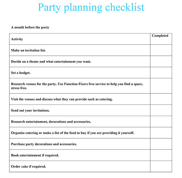 party planning checklist function fixers