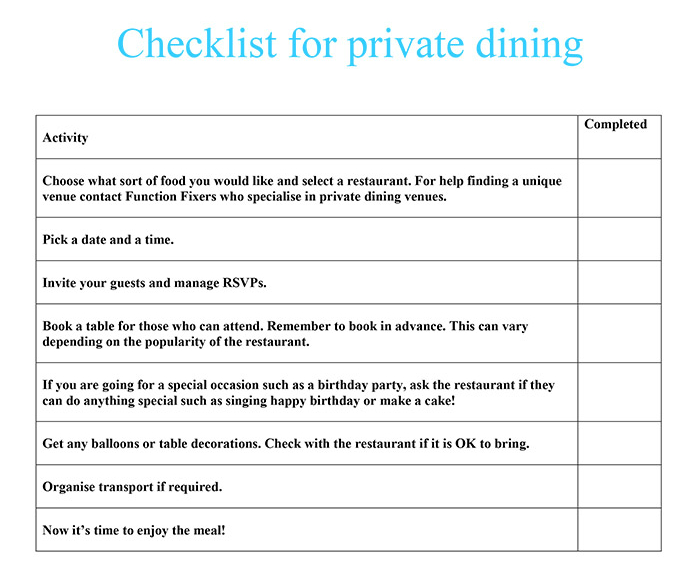 Checklist for private dining function fixers for Best private dining rooms central london