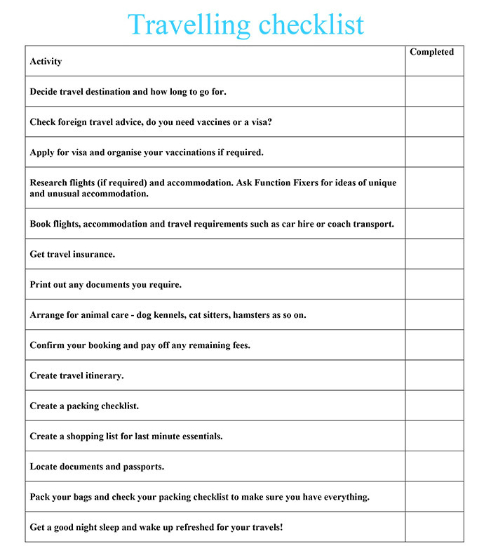 Travelling Checklist  Function Fixers