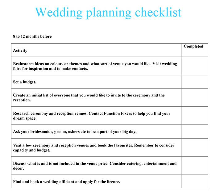 wedding planning check list